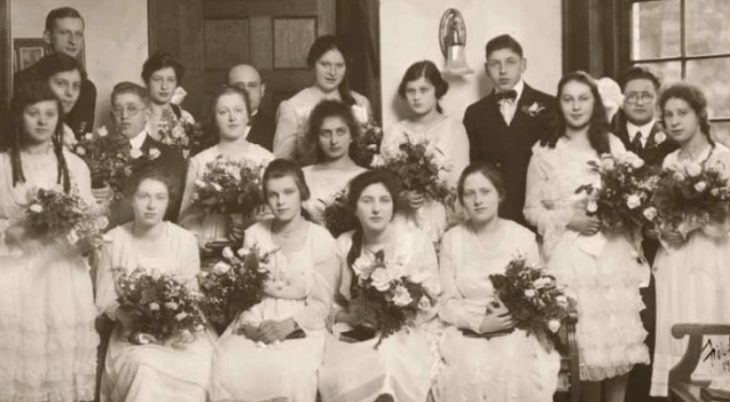 black and white early 20th century confirmation group photo