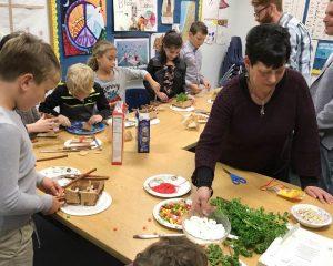 kids doing a food craft activity