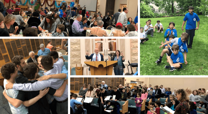 photo collage of Sinai Free Synagogue in action